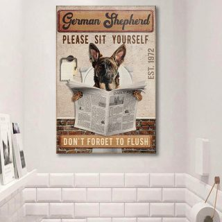German Shepherd Dog Bathroom Company - Don't Forget To Flush 1,5 Framed Canvas - Best Gift for Dog Lovers -Wall Decor, Canvas Wall Art