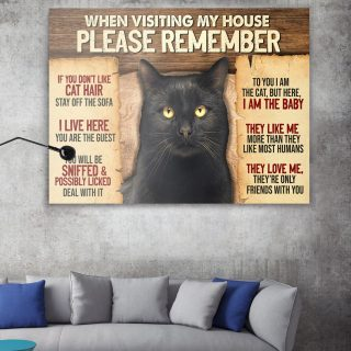 Black Cat When Visiting My House Please Remember 1,5 Framed Canvas  -Best Gift for Animal Lovers - Home Living- Wall Decor