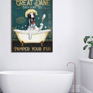 Great Dance Bath Soap Pamper Your Fur 1,5 Framed Canvas -Best Gift for Animal Lovers - Home Living- Wall Decor