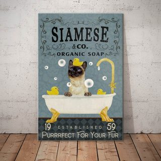 Siamese Organic Soap Purrrfect For Your Fur 1,5 Framed Canvas -Best Gift for Animal Lovers - Home Living- Wall Decor