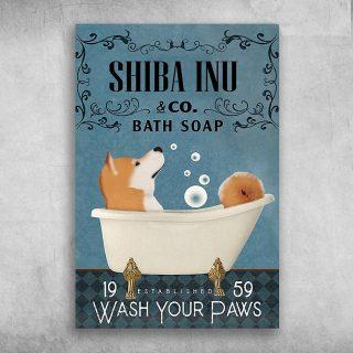 Shiba Inu In Bathtub Bath Soap Established Wash Your Paws - Canvas Wall Art - Canvas Wall Art - Best Gift for Dog Lovers
