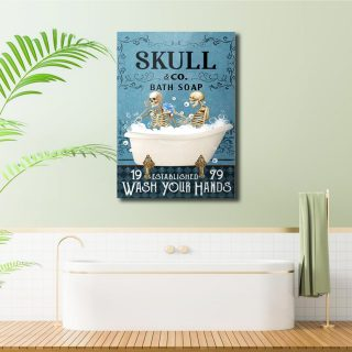 Couple Skulls and Co Bath Soap 1,5 Framed Canvas -Best Gifts for Animal Lovers - Home Living- Wall Decor