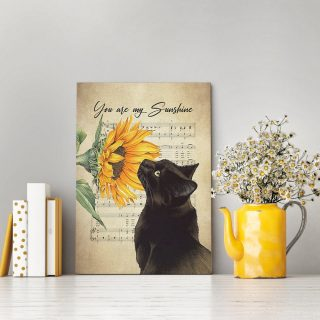 You Are My Sunshine Black Cat Sunflower Canvas -Gallery Wrapped 1,5 Framed Canvas -Best Gift for Pet Lovers -Wall Decor, Canvas Wall Art