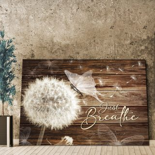 Vintage Just Breath Dandelion And Butterflies- From Heaven Canvas For Family 0.75& 1,5 Framed Canvas- Home Living- Wall Decor
