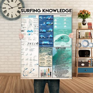 Surfing Knowledge Beginners Guide To Surfing 1,5 Framed Canvas - Home Living- Wall Decor - Canvas Wall Art