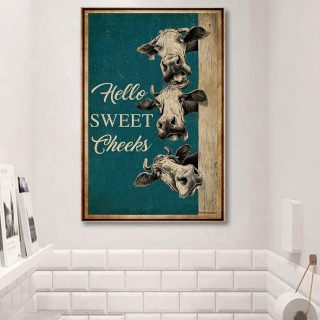 Hello Sweet Cheeks Cows 1,5 Framed Canvas - Best Gift for Animal Lovers - Home Living - Wall Decor