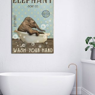 Elephant Soap Wash Your Hand 1,5 Framed Canvas -Best Gift for Animal Lovers - Home Living- Wall Decor