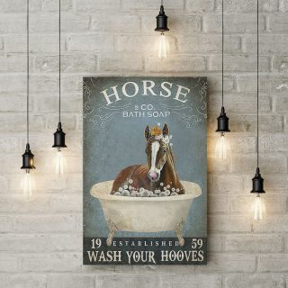 Horse Bath Soap Wash Your Hooves 1,5 Framed Canvas -Best Gift for Animal Lovers - Home Living- Wall Decor