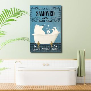 Samoyed and Co Bath Soap 1,5 Framed Canvas -Best Gifts for Animal Lovers - Home Living- Wall Decor
