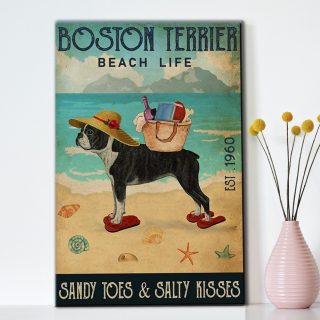 Boston Terrier  Beach Life- Sandy Toes & Salty Kisses 1,5 Framed Canvas -Best Gifts for Animal Lovers - Home Living- Wall Decor