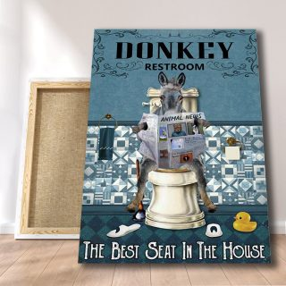 Donkey Restroom The Best Seat In The House 0.75 & 1.5 In Framed Canvas - Home Living -Wall Decor - Canvas Wall Art