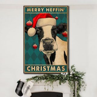 Cow Merry Heffin Christmas 0.75 & 1.5 In Framed Canvas - Housewarming Gifts - Home Living - Wall Decor - Canvas Wall Art