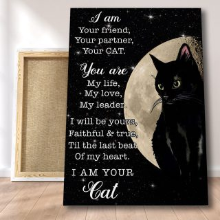 Black Cat And Moon - I Am Your Friend Your Partner 0.75 & 1.5 In Framed - Pet Lovers Gifts- Home Living- Wall Decor, Canvas Wall Art