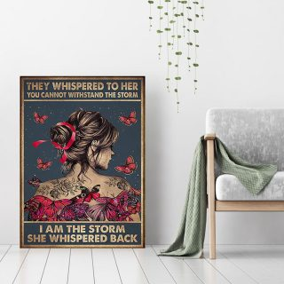 Butterfly They Whispered To Her You Cannot Withstand The Storm Canvas 0.75 & 1.5 In Framed - Home Living- Wall Decor, Canvas Wall Art