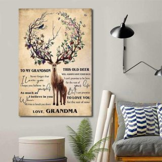 To My Grandson This Old Deer Will Always Have Your Back Love From Grandma Canvas 0.75 & 1.5 In Framed - Wall Decor, Canvas Wall Art