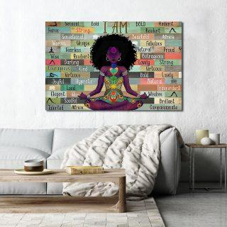 Africa American I Am Black Girl Love Yoga 0.75 & 1,5 Framed Canvas - Home Living- Wall Decor - Canvas Wall Art