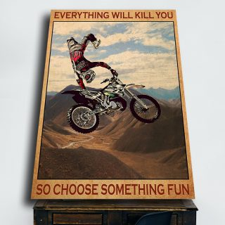 Motorbike Rider In The Air – Everything Will Kill You 0,75 and 1,5 Framed Canvas - Home Decor- Canvas Wall Art