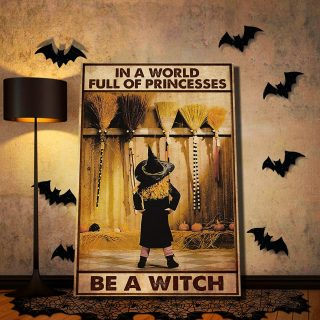 The Little Witch In Front Of The Brooms – In A World Full Of Princesses 0,75 and 1,5 Framed Canvas - Home Decor- Canvas Wall Art