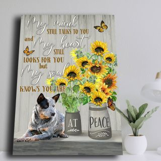 Sunflower and Dog At Peace 0,75 and 1,5 Framed Canvas - Gifts Ideas- Home Decor- Canvas Wall Art