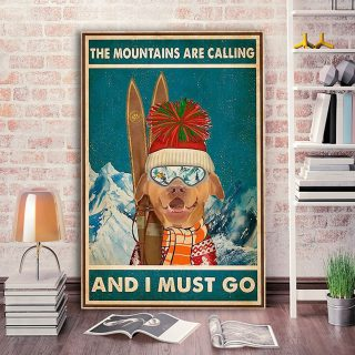 Bulldog Skiing The Mountains Are Calling And I Must Go 0,75 and 1,5 Framed Canvas - Gifts Ideas- Home Decor- Canvas Wall Art