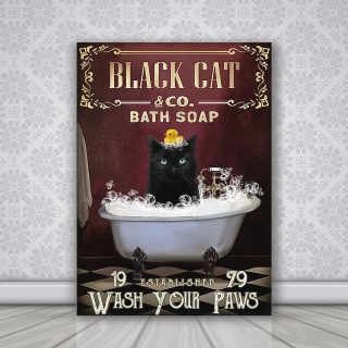 Black Cat Bath Soap Wash Your Paws 1,5 Framed Canvas -Best Gift for Animal Lovers - Home Living- Wall Decor