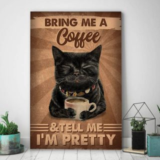 Black Cat Pretty Bring Me A Coffee 1,5 Framed Canvas -Best Gift for Animal Lovers - Home Living- Wall Decor
