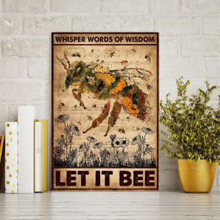Bee Whisper Words Of Wisdom Let It Be 0,75 and 1,5 Framed Canvas - Gifts Ideas- Home Decor- Canvas Wall Art