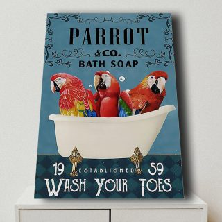 Parrot Bath Soap Wash Your Toes- Funny Bathroom Decor 0,75 and 1,5 Framed Canvas - Gifts Ideas- Home Decor- Canvas Wall Art