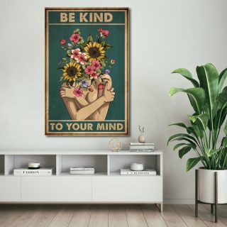 Be Kind To Your Mind Canvas 0,75 and 1,5 Framed Canvas - Gifts Ideas- Home Decor- Canvas Wall Art