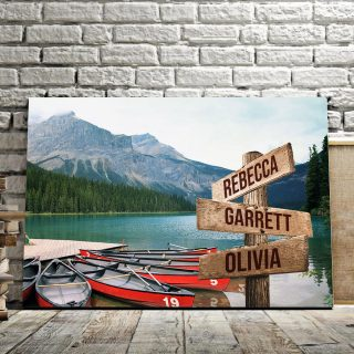 Personalized Emerald Lake Multi-Names 0.75 and 1,5 Framed Canvas - Street Signs Customized With Names- Home Living- Wall Decor
