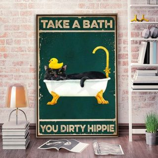 Black Cat Bathroom Take A Bath You Dirty Hippie 1,5 Framed Canvas -Best Gift for Animal Lovers - Home Living- Wall Decor