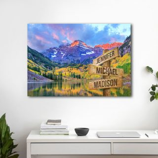 Autumn Colors At Maroon Bells And Lake Multi-Names 0.75 and 1,5 Framed Canvas - Street Signs Customized With Names- Home Living- Wall Decor
