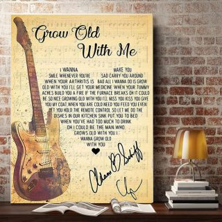 I Wanna Make You Smile -Grow Old With Me Lyrics Song 0.75 and 1,5 Framed Canvas- Home Living- Canvas Wall Decor