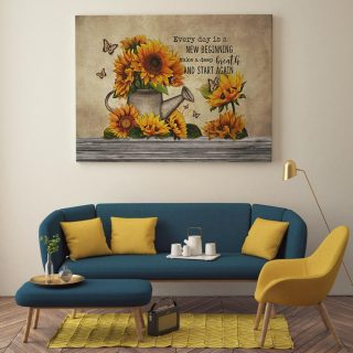 Every Day Is A New Beginning Take A Deep Breath And Start Again Sunflower 0.75& 1,5 Framed Canvas - Home Living- Wall Decor