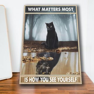 Black Cat And Black Panther In The Forest – What Matters Most 0.75 & 1.5 In Framed Canvas - Home Living -Wall Decor - Canvas Wall Art