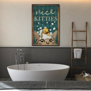 Cat and Duck Restroom Nice Kitties Looking At Bathroom 0.75 & 1.5 In Framed Canvas - Home Living -Wall Decor - Canvas Wall Art