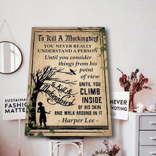 Harper Lee- To Kill A Mockingbird 0.75 & 1.5 In Framed -Housewarming Gifts- Home Living- Wall Decor, Canvas Wall Art