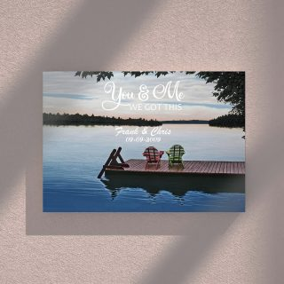 Personalized Sunset and Lake You And Me We Got This 0.75 and 1,5 Framed Canvas -Customized With Names- Home Living- Wall Decor
