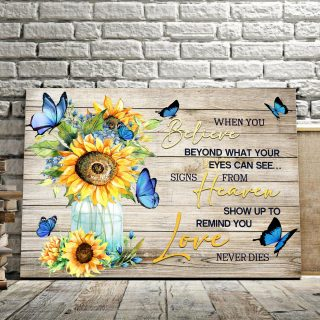 Believe Heaven Love- Best Gift For Sunflowers And Butterflies Lovers 0.75 and 1,5 Framed Canvas - FarmHome Decor - Wall Decor