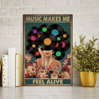 Vintage Girl Music Makes Me Feel Alive 0.75 & 1.5 In Framed - Home Living- Wall Decor, Canvas Wall Art