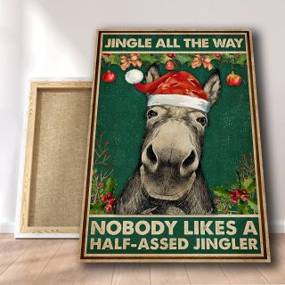 Donkey - Jingle All The Way Donkey Vertical Canvas 0.75 & 1.5 In Framed - Home Living- Wall Decor, Canvas Wall Art
