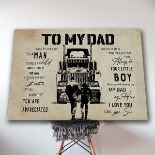 Son To Dad Truck-To My Dad, You Are Appreciated 0.75 & 1.5 In Framed Canvas -Home Decor- Wall Decor, Canvas Wall Art