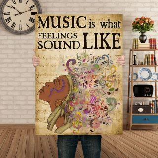 Black Women Is Feeling – Music Is What Feelings Sound Like Canvas 0.75 & 1.5 In Framed - Gift Ideas - Wall Decor, Canvas Wall Art
