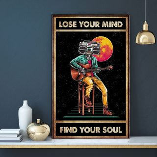 Guitar Player Lose Your Mind Find Your Soul 0.75 & 1,5 Framed Canvas - Special Gift Ideas- Canvas Wall Art -Home Decor