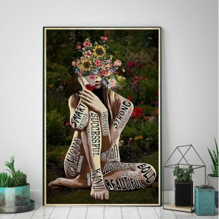 Girl Love Garden and Wine Gardening Smart Successful Strong Vertical 0.75 & 1,5 Framed Canvas - - Canvas Wall Art -Home Decor