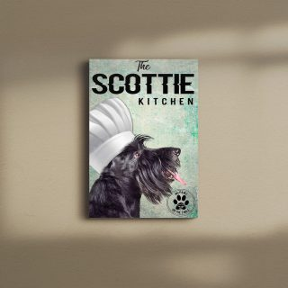 Scottish Terier The Kitchen No Paws On The Table0.75 & 1,5 Framed Canvas - Gift For Dog Lovers Ideas - Canvas Wall Art -Home Decor