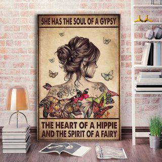 She Has The Soul Of A Gypsy The Heart Of A Hippie & The Spirit Of A Fairy 0,75 and 1,5 Framed Canvas - Home Decor- Canvas Wall Art