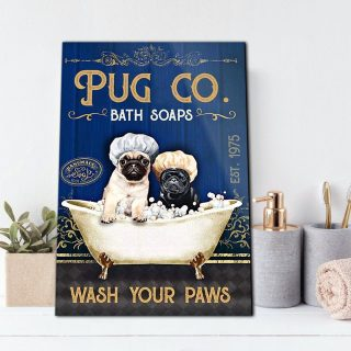 Couple Pug Dog Bath Soap Wash Your Paws Vertical 0,75 and 1,5 Framed Canvas - Gifts Ideas- Home Decor- Canvas Wall Art