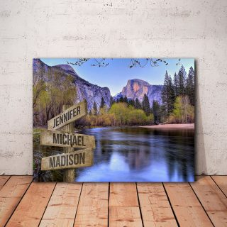 Personalized Half Dome Near Sunset Multi-Names 0.75 and 1,5 Framed Canvas - Street Signs Customized With Names- Home Living- Wall Decor