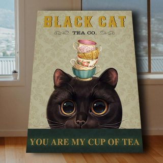 Black Cat With Big Eyes And Cup Of Tea – Tea Co. You Are My Cup Of Tea 0,75 and 1,5 Framed Canvas - Gifts Ideas- Home Decor- Canvas Wall Art